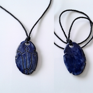 Petroglyph Necklace Ancient Pendant Ceramic Dark Blue Peterborough Stone Art .2