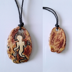 Alien Necklace Sego Canyon Pendant Ceramic Petroglyph Copper Sand Native American