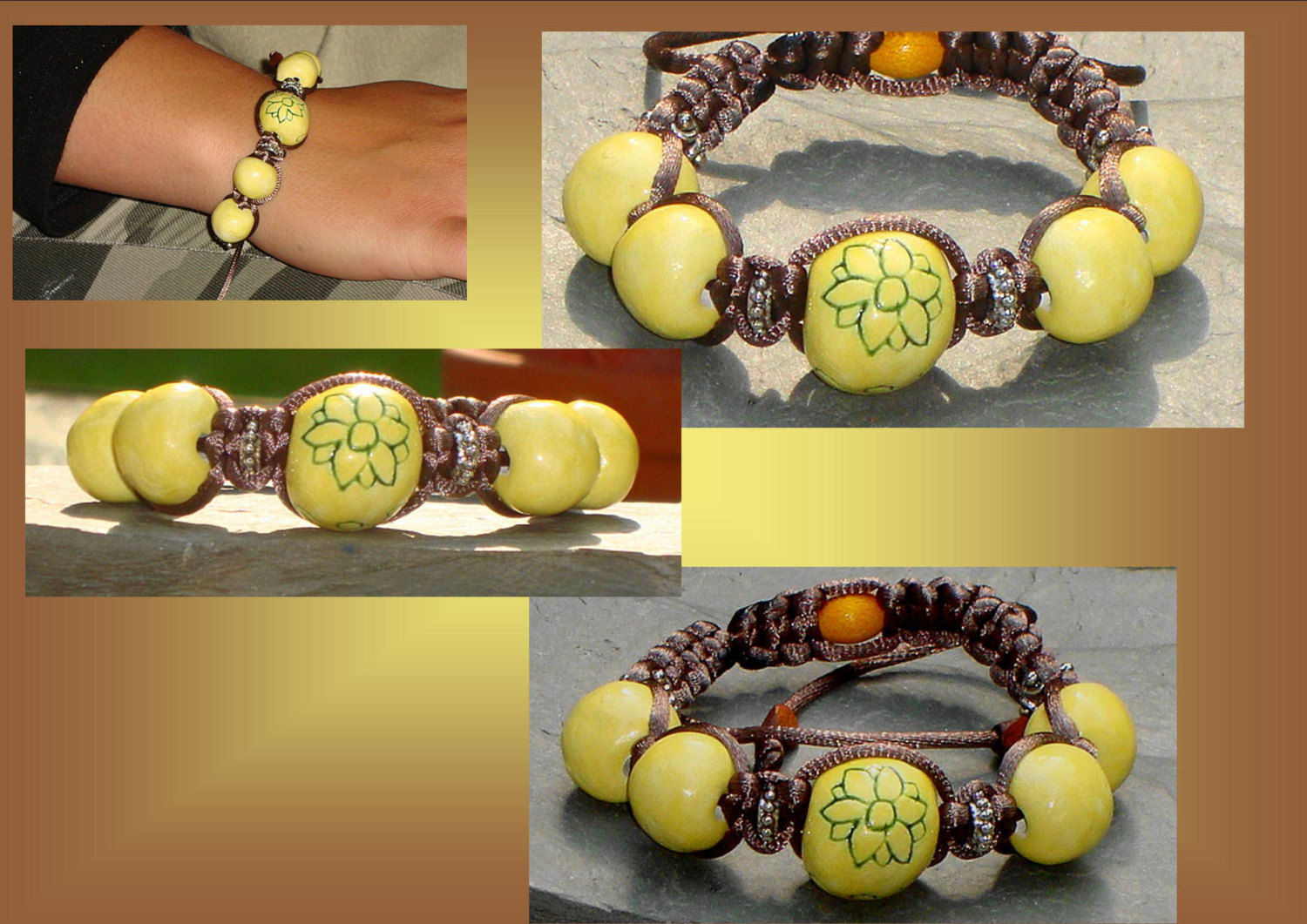 Chunky Lemon Yellow Flower Bracelet Ceramic Beads Bali Tibetan Shamballa Beaded Woven Jewelry