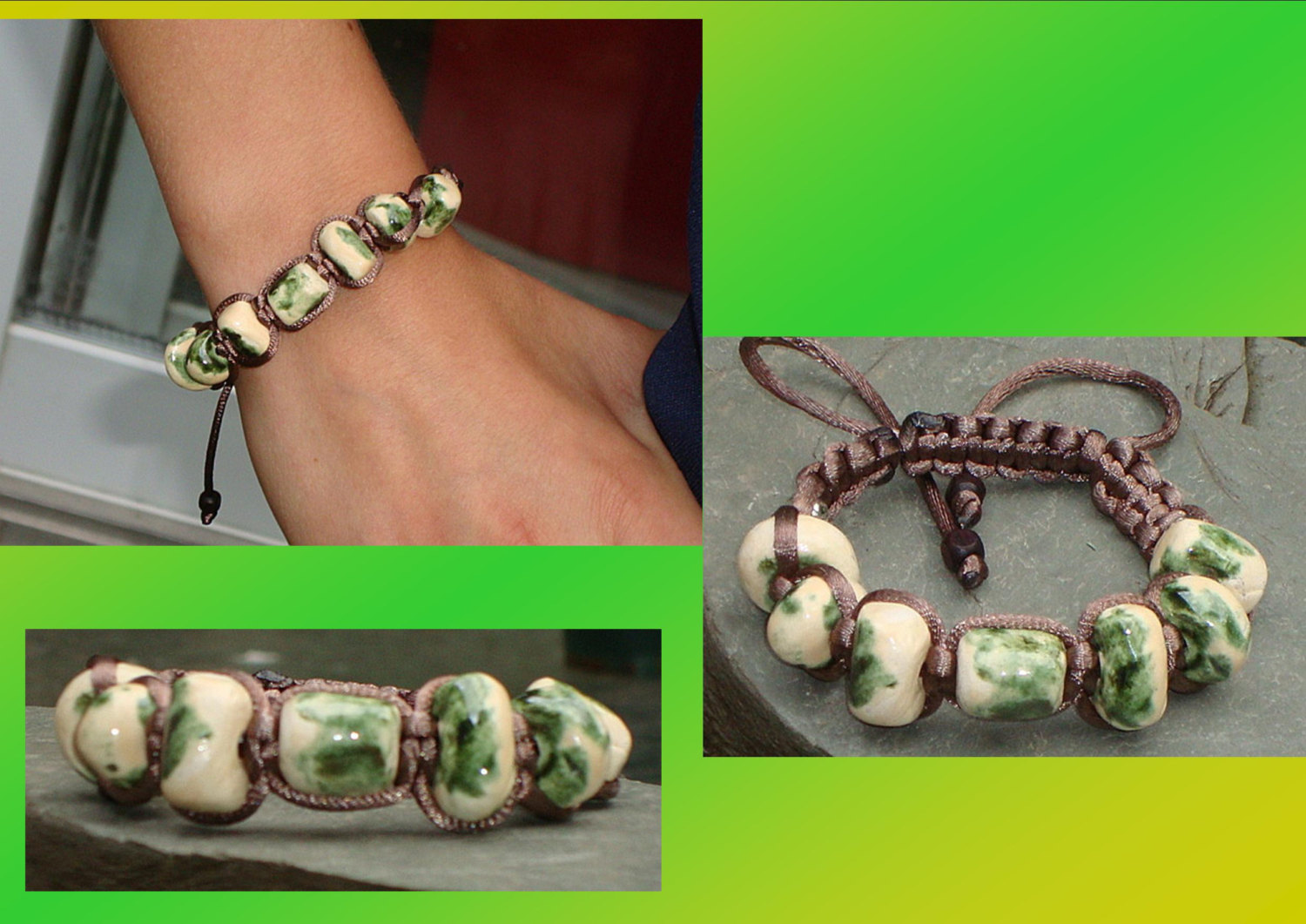 Molted Organic Green Ceramic Bracelet Beads Bali Tibetan Shamballa Beaded Woven Jewelry