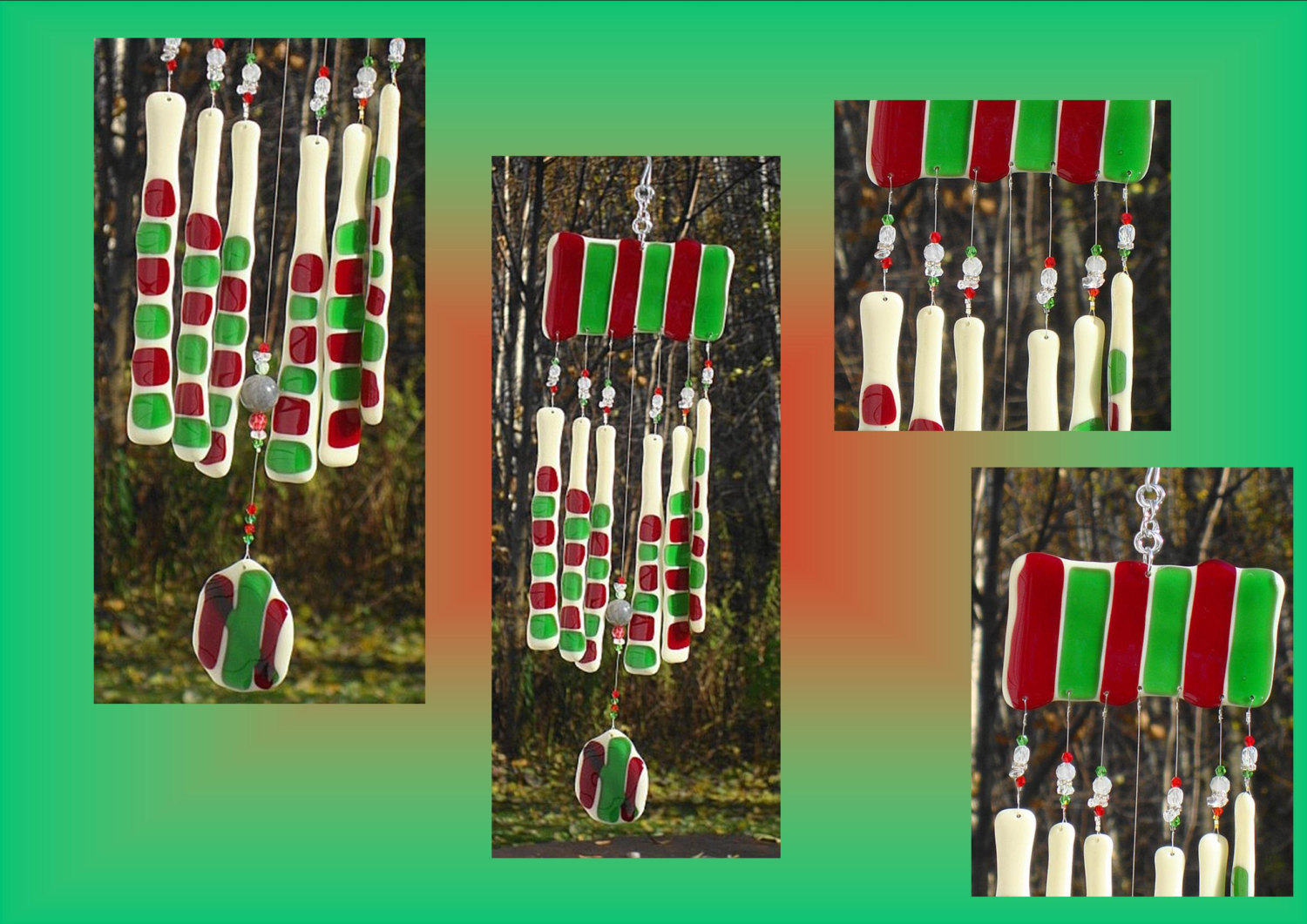 Glass Windchimes Fused Glass Windchime Red Green Windchime Candy Canes Garden Decor Stained Glass Windchime Window Suncatchers