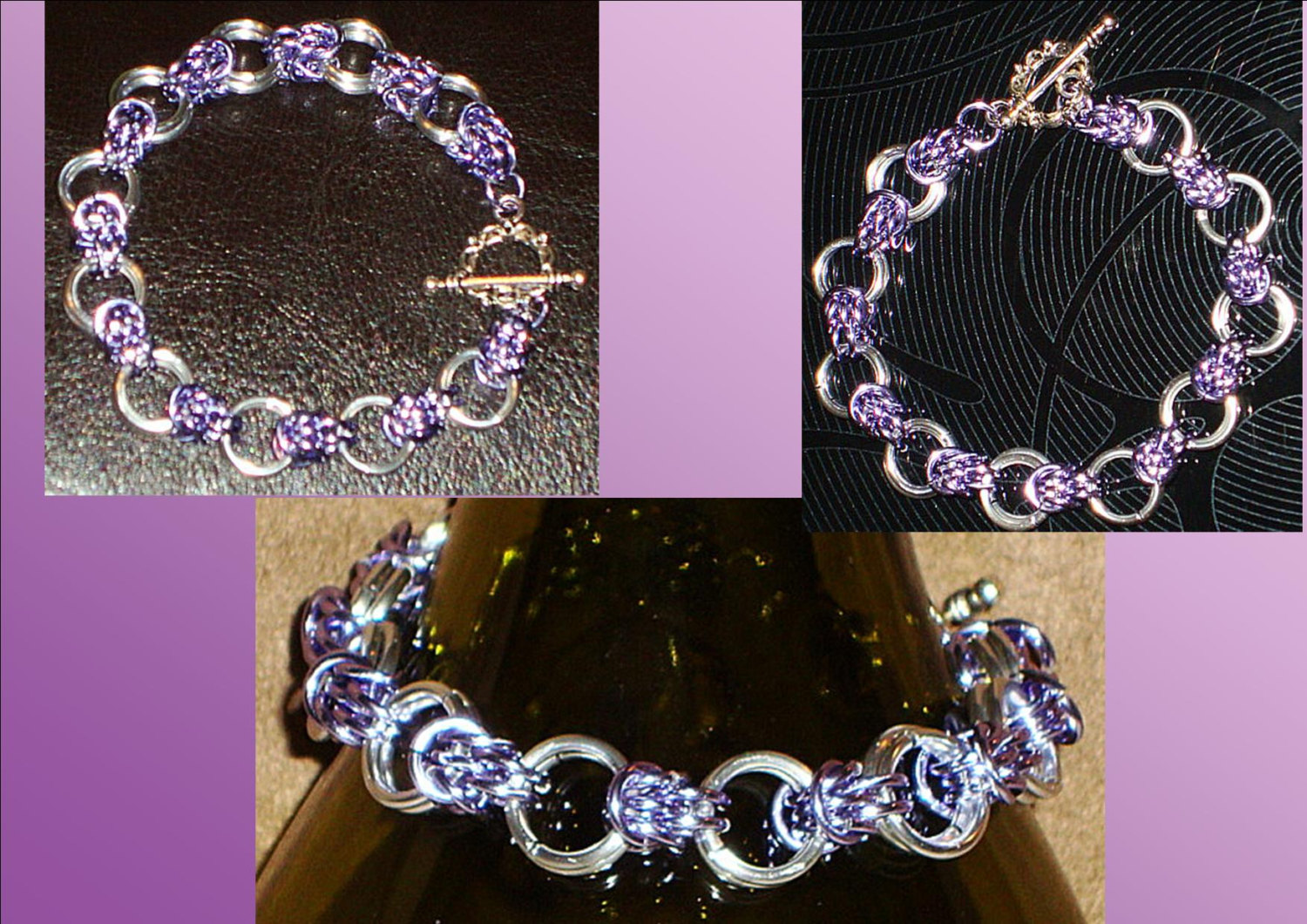 Silver Chainmail Bracelet Lavender Weave Chainmail Medieval Bracelet Purple Chainmail Bracelet