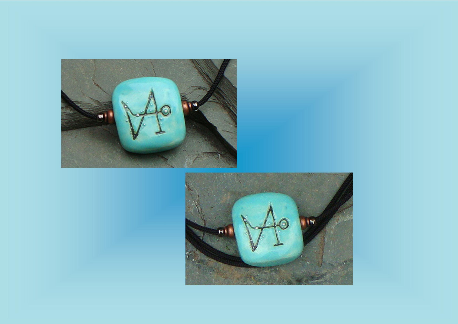 Angel Necklace Angel Sigil Archangel Gabriel Necklace Sacred Protection Sigil Turquoise Ceramic Focal Bead Pendant