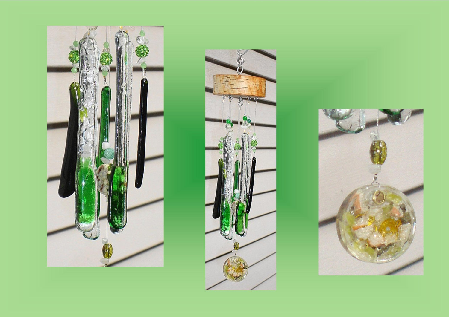 Glass Windchimes Green Fused Glass Windchime Orgone Windchime Garden Decor Stained Glass Windchime Mobile Window Suncatchers