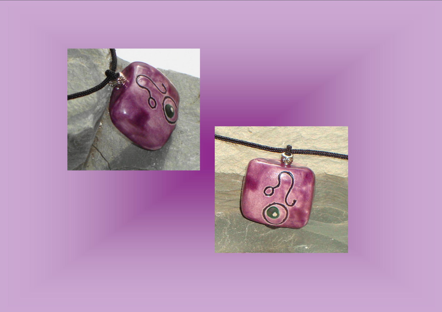 Leo Zodiac Pendant Necklace Sun Leo Pendant Purple Ceramic Focal Bead Zodiac Pendant Necklace Astrology Pendant Zodiac Leo Necklace