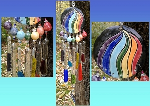 Rainbow Glass Windchime Ceramic Pottery Mobile Garden Ornament Window Art .3