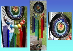 Rainbow Glass Windchime Ceramic Pottery Mobile Garden Ornament Window Art