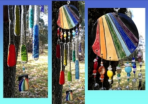 Rainbow Glass Windchime Ceramic Pottery Mobile Garden Ornament Window Art .2