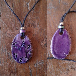 Archangel Raphael Necklace Ceramic Purple Angel Pendant Sigil Enochian Amulet Sacred Protection