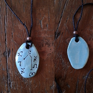 Archangel Raphael Necklace Ceramic Turquoise Angel Pendant Sigil Enochian Amulet Sacred Protection