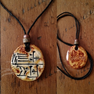 Cuneiform KING Necklace Sumerian Pendant Copper Sand Ceramic SARRUM Amulet