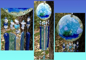 Sea Glass Wind Chime Ocean Wave Turquoise Teal Pottery Chimes Sea Surf Beach Decor