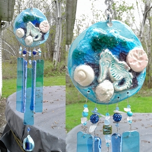 Seahorse Wind Chime Glass & Ceramic Mobile Caribbean Turquoise Seashell Beach Decor