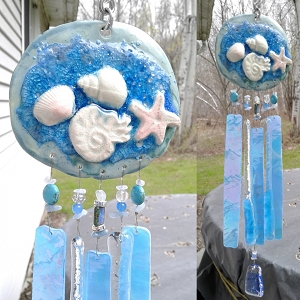 Starfish Wind Chime Glass & Ceramic Mobile Turquoise Blue Seashell Beach Decor
