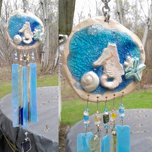 Seahorse Wind Chime Glass & Ceramic Mobile Turquoise Blue Gold Seashell Beach Decor