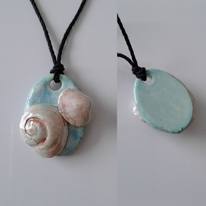 Seashell Necklace Ceramic Shells Pendant Turquoise Ocean Beach Amulet