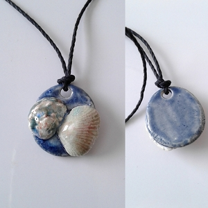 Seashell Necklace Ceramic Shells Pendant Blue Ocean Beach Amulet