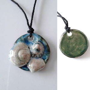 Seashell Necklace Ceramic Shells Pendant Turquoise Ocean Beach Amulet .2