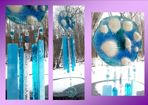 Seashell Wind Chime Glass & Ceramic Mobile Sacred Circle Turquoise Blue Beach Decor