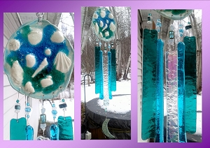 Seashell Wind Chime Glass & Ceramic Mobile Mystic Moon Turquoise Beach Decor