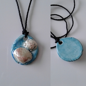 Seashell Necklace Ceramic Shells Pendant Turquoise Ocean Beach Amulet .3