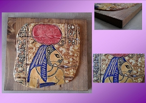 Egyptian Sekhmet Tile on Wood Plaque Warrior Goddess Ceramic Feline Cat Wall Decor