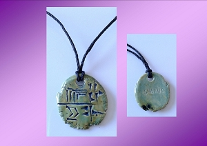 Cuneiform HUNTER Necklace Sumerian Pendant green Ceramic SHARUR Amulet