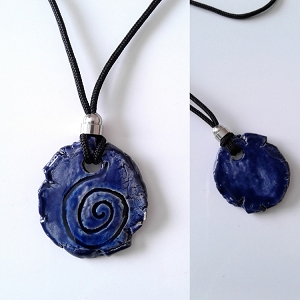 Taino Snail Necklace Ceramic Amulet Dark Blue Petroglyph Caribbean Water Pendant