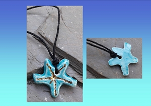 Starfish Necklace Genuine Gold & Turquoise Ceramic Pendant Sea Surfer Boho Jewelry