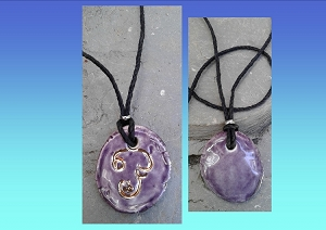 Tamil Ohm Necklace Gold Script Ceramic Pendant Purple Sacred Symbol