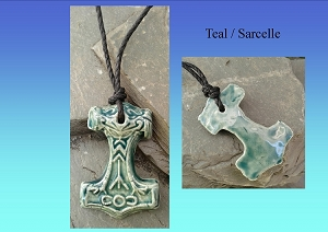 Thor's Hammer Necklaces Viking Pendants Blue Teal Cobalt Turquoise Red Ceramic Mjolnir Norse Amulets