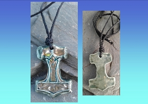 Thor's Hammer Necklace Viking Pendant Teal Ceramic with Gold Mjolnir Norse Amulet Scandanavian Mythology God of Thunder