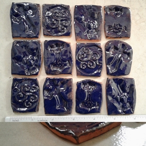 12 Square Ceramic Mosaic Tiles Celtic Viking Blue Terra Cotta 1.25''-1.50'' Thor's Hammer Wolf Skull Celtic