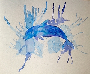Ocean Blue Dolphin Original Watercolor Painting Ocean Sea Whales Water Fine Art Unframed