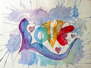 Original Watercolor Love Painting Rainbow LGBT Fine Art Unframed Amour Amor Chakra