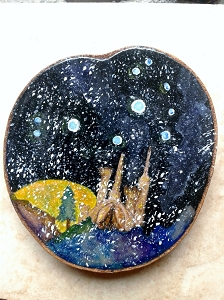 Pleiades Star Constellation Mini Wood Painting Watercolor Winter Skies Galaxy