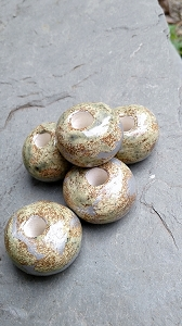 5 Ceramic Macramé Beads Silver Rustic Large Round Beading Jewelry Supplies
