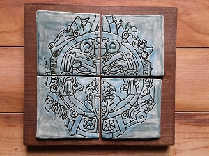 Aztec War Mask Ceramic Plaque Turquoise Tile Wall Art Mesoamerican Pottery Ancient Clay Mask