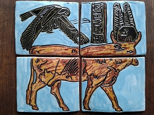 Auroch Bull Ceramic Tile Turquoise Gold Egyptian Wall Art Apis Bull Cattle Horus Hand Carved Decor