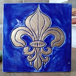 Fleur de Lys Ceramic Decorative French Tile Gold Fleur de Lis Wall Decor Blue Mosaic France Coat of Arms
