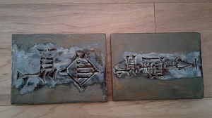 2 Cuneiform Enki & Enlil Ceramic Tiles 4'' x 3