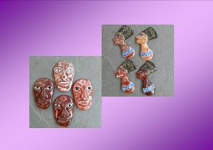 Set 4 Nefertiti 4 African Warriors Cabochons Fine Porcelain Ceramic Handmade Pendant Making Jewelry Mosaics