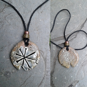 Anu Necklace Sumerian Pendant Gray Stone Ceramic Petroglyph Amulet Sky Father King of the Gods