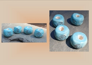 Adinkrahene Beads, Adinkra African Symbol Dread Beads, Hair Accessories, Large Hole Turquoise Beads, Ceramic Pottery Beads, Macrame Beads