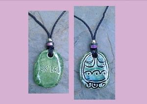 Mayan Ak'bal Necklace Mesoamerican Tzolk'in Day Sign Darkness Glyph Ceramic Amulet Turquoise Green