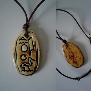 Akhenaten Necklace Egyptian Cartouche Hieroglyph Amulet Ceramic Pendant