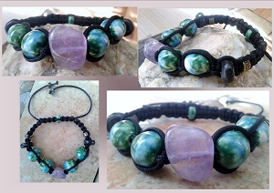 Amethyst Crystal Green Blue Ceramic Beaded Bracelet Shamaballa Bali