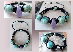 Men's Amethyst Crystal Sea Turquoise Bracelet Ceramic Beads Adjustable Clay Pottery