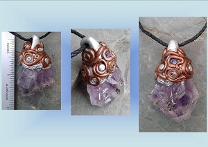 Amethyst Quartz Crystal Pendant with Swarovski Crystal Amulet Bronze Silver Mayan Aztec Inspired Necklace
