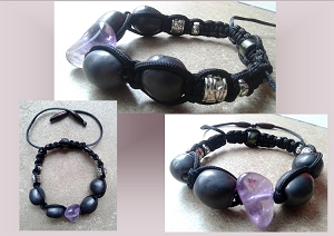 Amethyst Crystal Bracelet Pewter Ceramic Beads Shamballa Woven Beaded